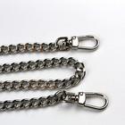 Łańcuszek metalowy do torebki z karabińczykami-  oczka 12/9 mm - NIKIEL- 100 cm (2)