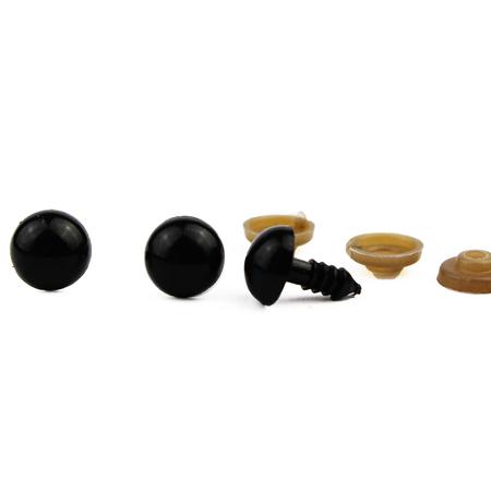 Oczy plastikowe, bezpieczne do maskoek- czarne - 12mm