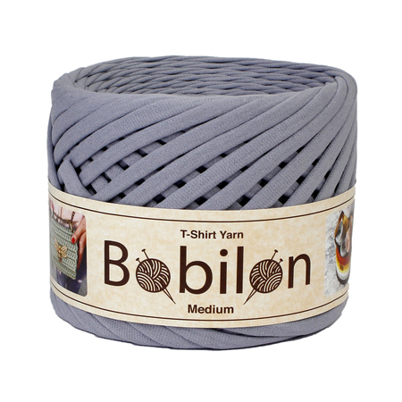 Bobilon Medium- 7-9 mm - SPACE GRAY - Knitted Yarn Ball- przędza 100 % bawełna (1)