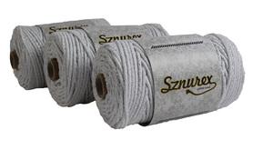 Sznurek bawełniany 3mm- 100mb- Biały + srebrna nić